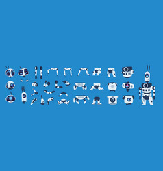 robot elements cartoon android character vector image