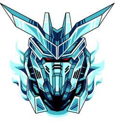 robot head mascot logo vector image
