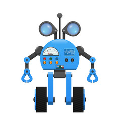 Robot on wheels spy lenses and control panel vector