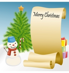 Roll of paper with snowman and Christmas tree vector image