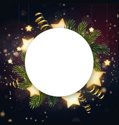 round christmas wreath with fir branches glowing vector image