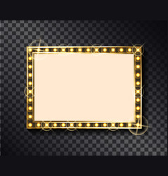 round glittering frame with neon light bulb vector image