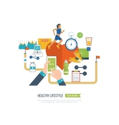 Running woman Healthy lifestyle fitness concept vector image