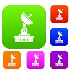 satellite dish set collection vector image