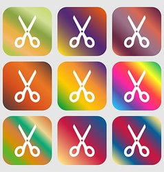 Scissors icon sign Nine buttons with bright vector