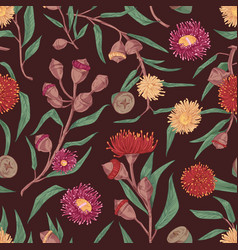 seamless floral pattern with blooming eucalyptus vector image