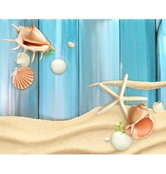 Seashells on sand and wooden background vector image