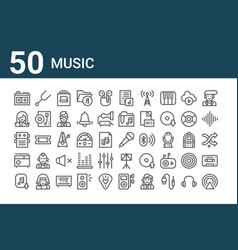Set 50 music icons outline thin line icons vector