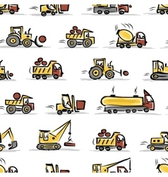 Set of construction equipment seamless pattern vector image