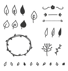 Set of doodle leaves and elements vector image
