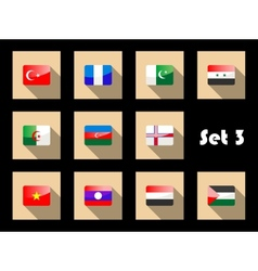 Set of flat flag icons of Eastern countries vector