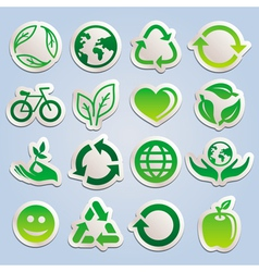 set with ecology stickers vector image