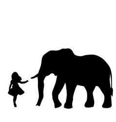 silhouette girl wants to touch elephant world vector image