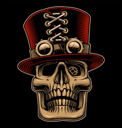 skull in hat and eyeglasses in steampunk style vector image