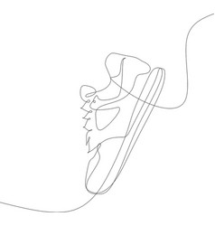 sneakers sports shoes in a line style continuous vector image