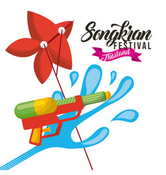 songkran festival thailand water gun and kite vector image