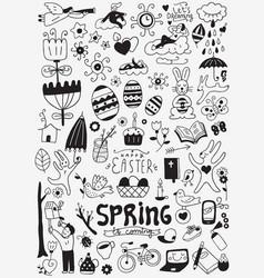 Spring easter doodles vector