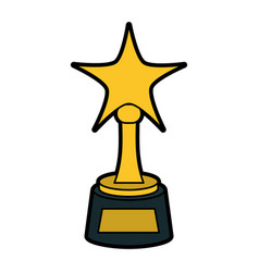 Star shape trophy award icon image vector