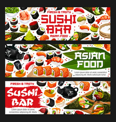 Sushi bar banners asian food vector