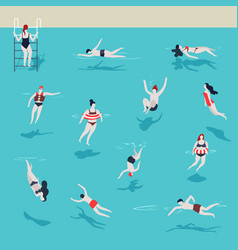 swimming pool men and women in water jumping and vector image