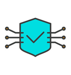 tech circuit shield line icon minimal pictogram vector image