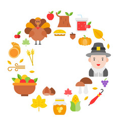 thanksgiving icon arrange as circle frame shape vector image