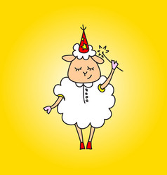 The sheep is a magician with a magic wand drawing vector