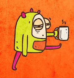 Tired Alien with Coffee Cartoon vector image
