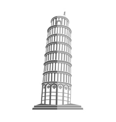 Tower of pisa in italy flat icon vector