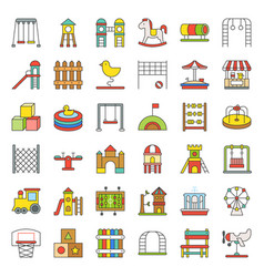 toys playground and rides icon filled outline vector image