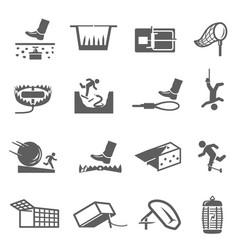 Traps hunting poaching line and bold icons set vector