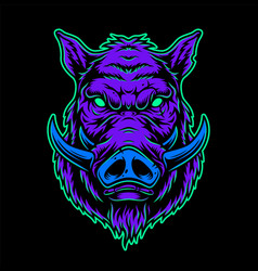 vintage colorful serious boar head vector image