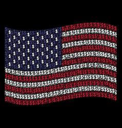 Waving american flag stylization of dollar icons vector