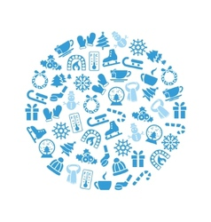 Winter icons in circle vector