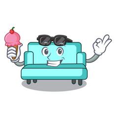 with ice cream sofa character cartoon style vector image