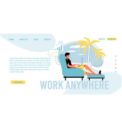Work anywhere online communication landing page vector