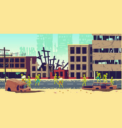 zombie apocalypse in city cartoon concept vector image