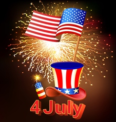 Card Independence Day with fireworks vector image