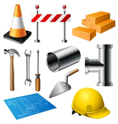 Construction item set vector image vector image