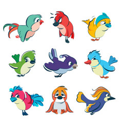 funny different birds set in vector image