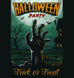 halloween party poster with zombie hand house vector image vector image