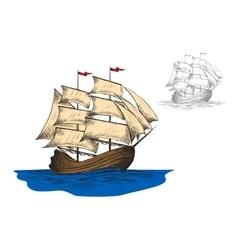 Old sailing ship among ocean waves vector image