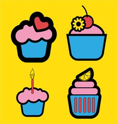 Set of four colored cakes vector image