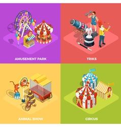 Circus 4 Isometric Icons Square Poster vector image vector image