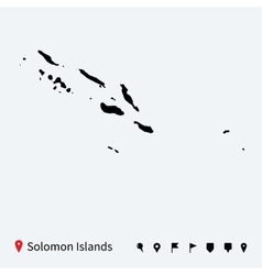 High detailed map of solomon islands with pins vector