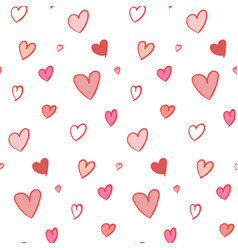 lovely seamless pattern with hand drawn hearts vector image vector image