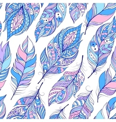 Pattern with colorful abstract feathers vector