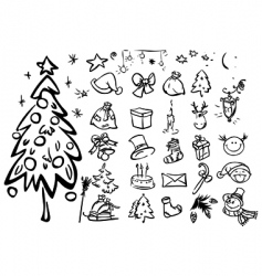 sketches for xmas vector image