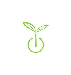 Sprout mockup eco logo green leaf seedling growing vector image