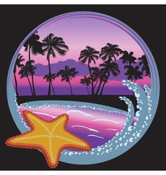 Tropical beach at night with palms island ocean vector